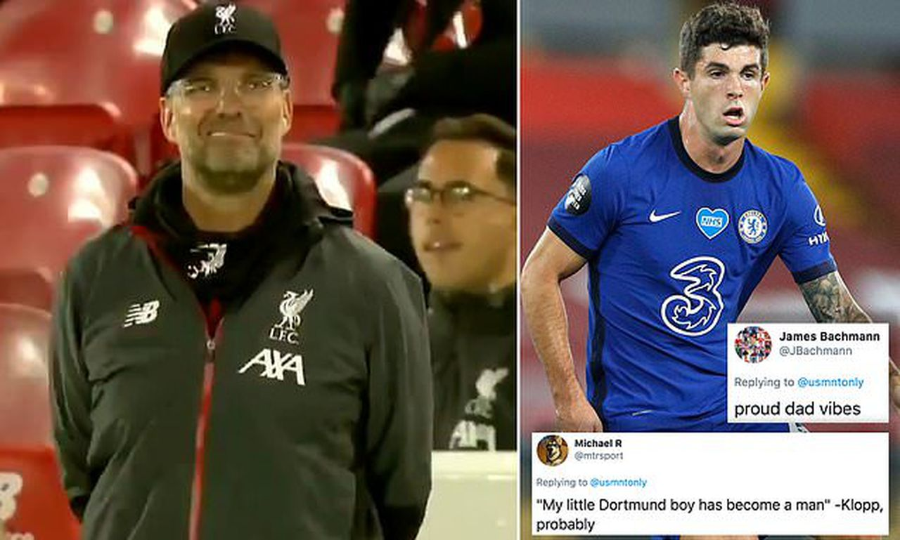 Fans notice Jurgen Klopp's wry smile after Christian Pulisic strike at Anfield