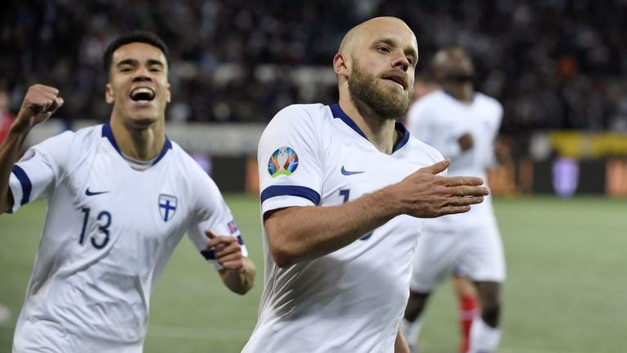 For the first time ever, Finland beat Lichtenstein 3-0 to secure a place in Euro 2020. Image via SkySports.